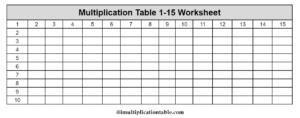 Multiplication Chart 1 To 15 Worksheet