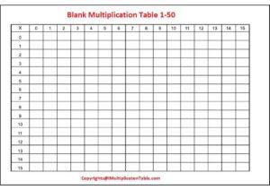 Blank Multiplication Table 1 50 For Kids pdf