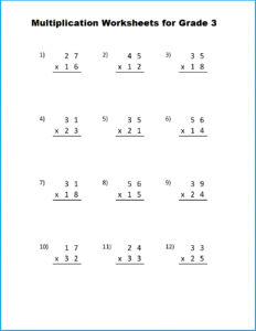 Multiplication Table Worksheet For Grade 3 with PDF