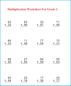 Multiplication Worksheet For Grade 2