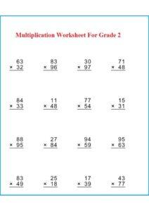 Multiplication Worksheet For Grade 2 pdf